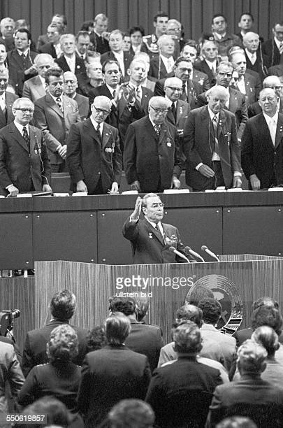25th anniversary of the GDR ceremonial act at the Werner Seelenbinder Halle in East Berlin Leonid Brezhnev General Secretary of the Central Committee...