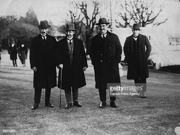 Pasha of Turkey and his aides private detective and Colonel Tafik at the Allied Conference with the Turks at Lausanne