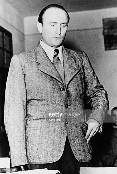Artur Axmann , leader of the Hitler Youth from 1940 to 1945, at the start of his trial at Nuremberg. He was sentenced to three years and three months...