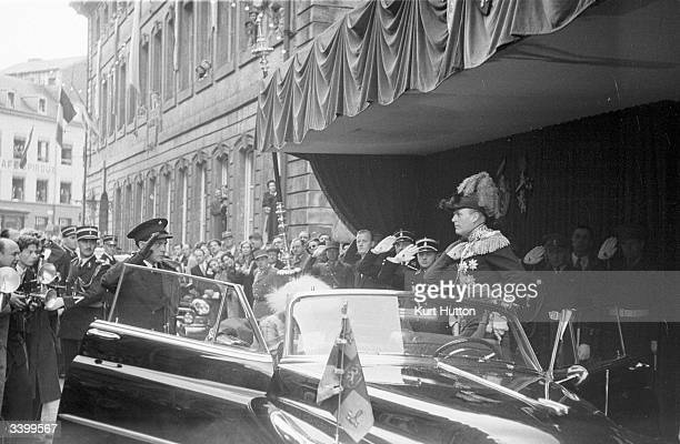 Royal guests leaving the cathedral after attending the marriage of Prince Jean heir to the Luxembourg throne and Belgian Princess Josephine Charlotte...