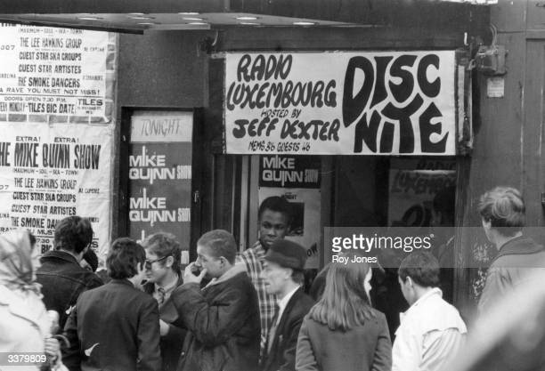 Young mods queuing outside the Tiles Club 79 Oxford Street in London's Soho clubland