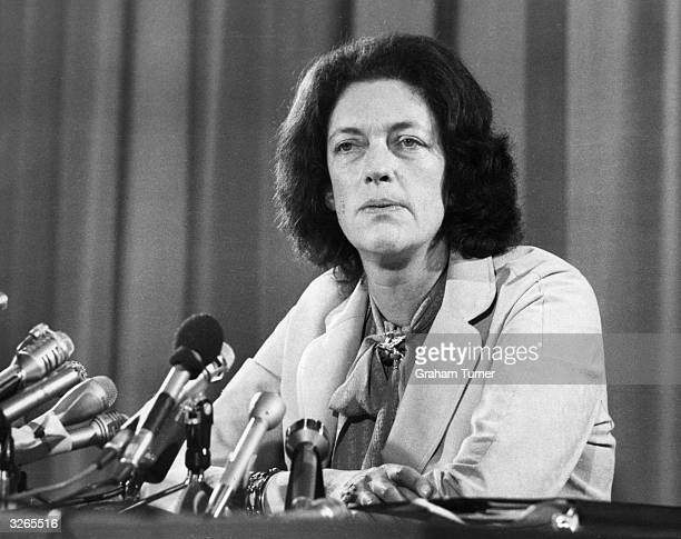 Mrs Louisa Kennedy wife of Mr Morehead Kennedy a hostage from the US embassy at Tehran in Iran giving a press conference