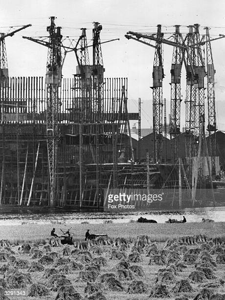 Work proceeds on the sister ship for the 'Queen Mary' 'Cunarder 552' as she is known may be seen rising up between the scaffolding on the River Clyde...