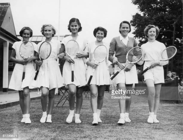 25th August 1952 Teenage competitors at the New Malden Lawn Tennis Club's Open Lawn Tennis Tournament From left to right J Hepburn Anne Taylor Mary...