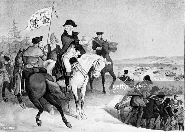 George Washington gestures towards the Jersey side of the Delaware River as the Continental Army make their way across the River to attack Trenton...