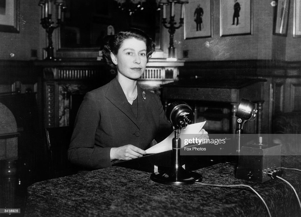 Queen Elizabeth II making her first ever Christmas broadcast to the nation from Sandringham House, Norfolk.