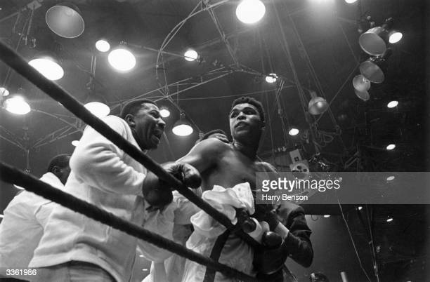 American boxer Cassius Clay in the ring after his defeat of Sonny Liston in their world heavyweight title fight at Miami Beach Florida