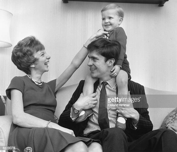 Anna Massey with husband Jeremy Brett and their young son in Chelsea, London.