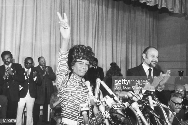 US Representative Shirley Chisholm of Brooklyn announces her entry for Democratic nomination for the presidency at the Concord Baptist Church in...