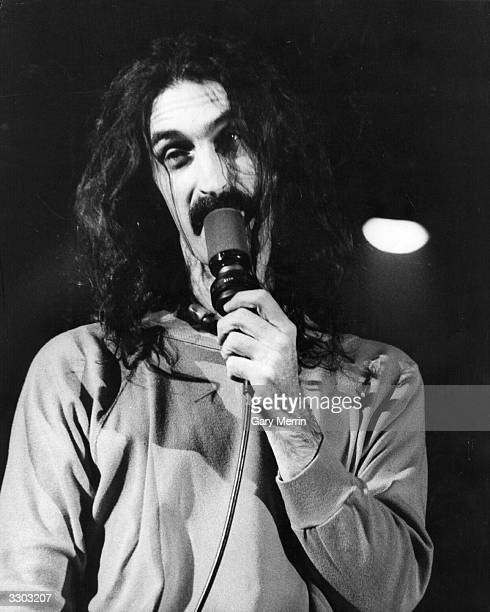 American experimental rock singer songwriter guitarist and composer Frank Zappa on stage at the Hammersmith Odeon London