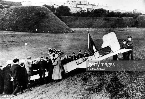 Bleriot on the cliffs of Dover after the first flight over the Channel