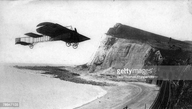 25th July 1909 French aviator Louis Bleriot makes the first flight over the English Channel from Baraques to Dover in a small 24hp monoplane