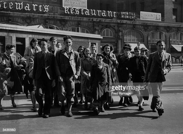 A group of Jewish children at Victoria Railway Station London about to emigrate to Palestine