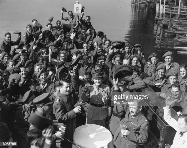 Junior Commander Mary Churchill daughter of Winston Churchill christens the NAAFI pleasure steamer Southend Belle before it goes into service on the...