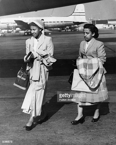 The granddaughters of Emperor Haile Selassie Princess Mamite and Princess Sofia Desta leaving London Airport to fly home to Addis Ababa for their...