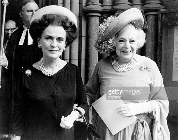 Margaret Duchess of Argyll and Barbara Cartland at a memorial service for clothes designer Norman Hartnell at Southwark Cathedral Barbara Cartland...