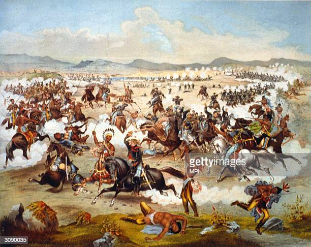 General George Armstrong Custer and the men of the 7th Cavalry are slaughtered by the Sioux and Cheyenne at the Battle of Little Big Horn Montana
