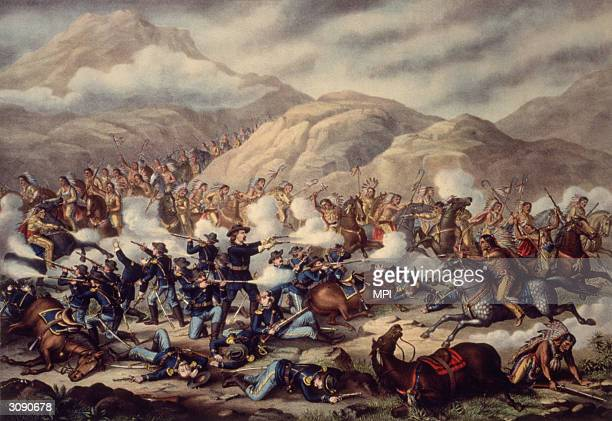 General George Armstrong Custer and the men of the US 7th Cavalry are surrounded and massacred by Sioux and Cheyenne Indians at the Battle of Little...