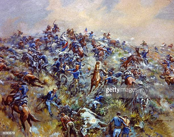 General George Armstrong Custer and the men of the US 7th Cavalry are massacred by Sioux and Cheyenne Indians at the Battle of Little Big Horn Montana