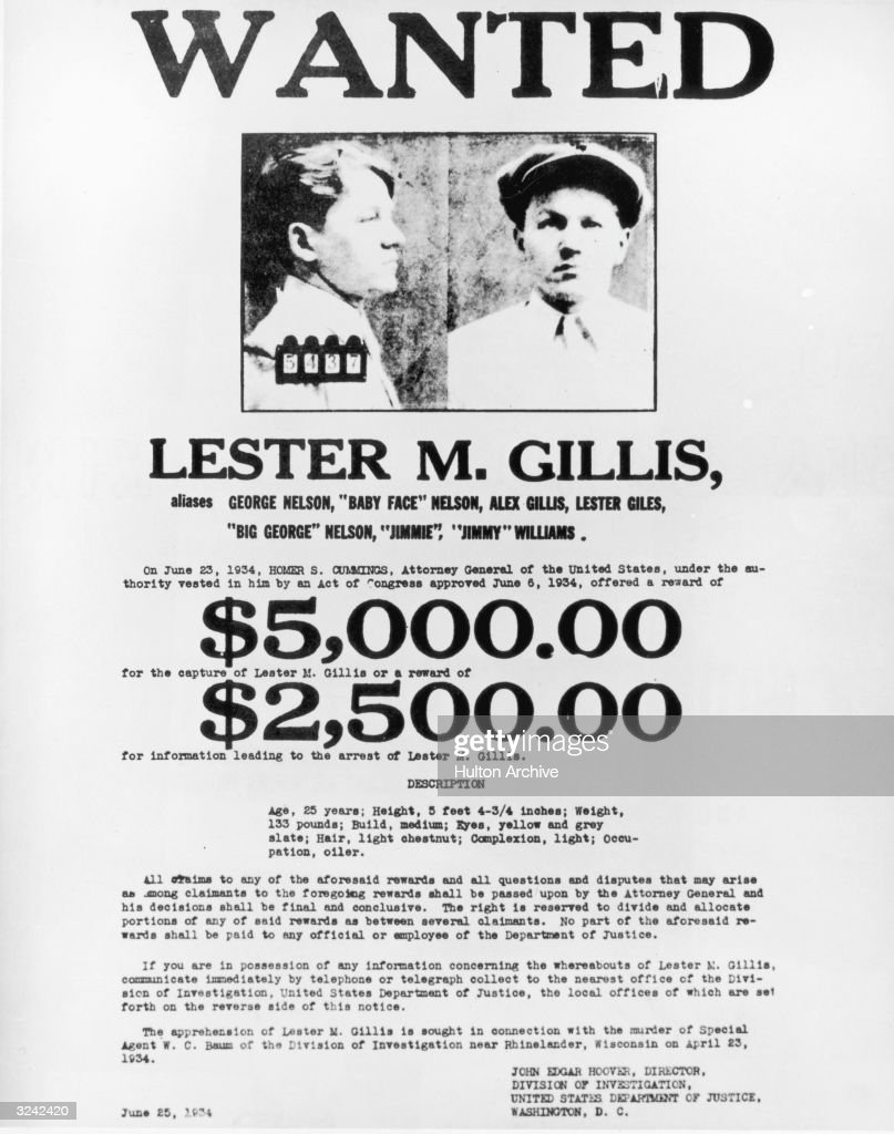 Wanted poster for American criminal Lester Gillis, also ...