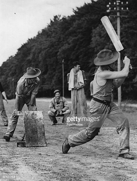 Australian troops enjoying a game of cricket at their training quarters at Southern Command