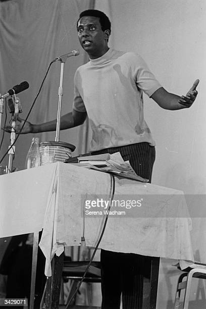 Stokely Carmichael leader of the American Negroes speaking in support of Black Power at the Chalk Farm Roundhouse London