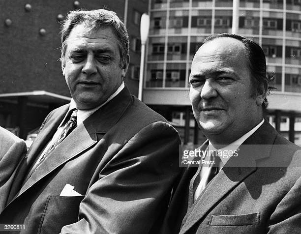 American actor Raymond Burr at the BBC Television Centre London with British actor Stratford Johns