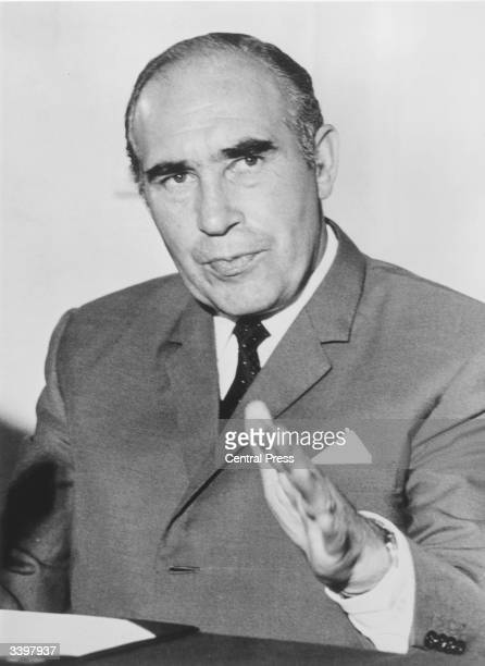 Sir Alf Ramsey manager of the England football team at a press conference in London after England failed to retain the World Cup in Mexico