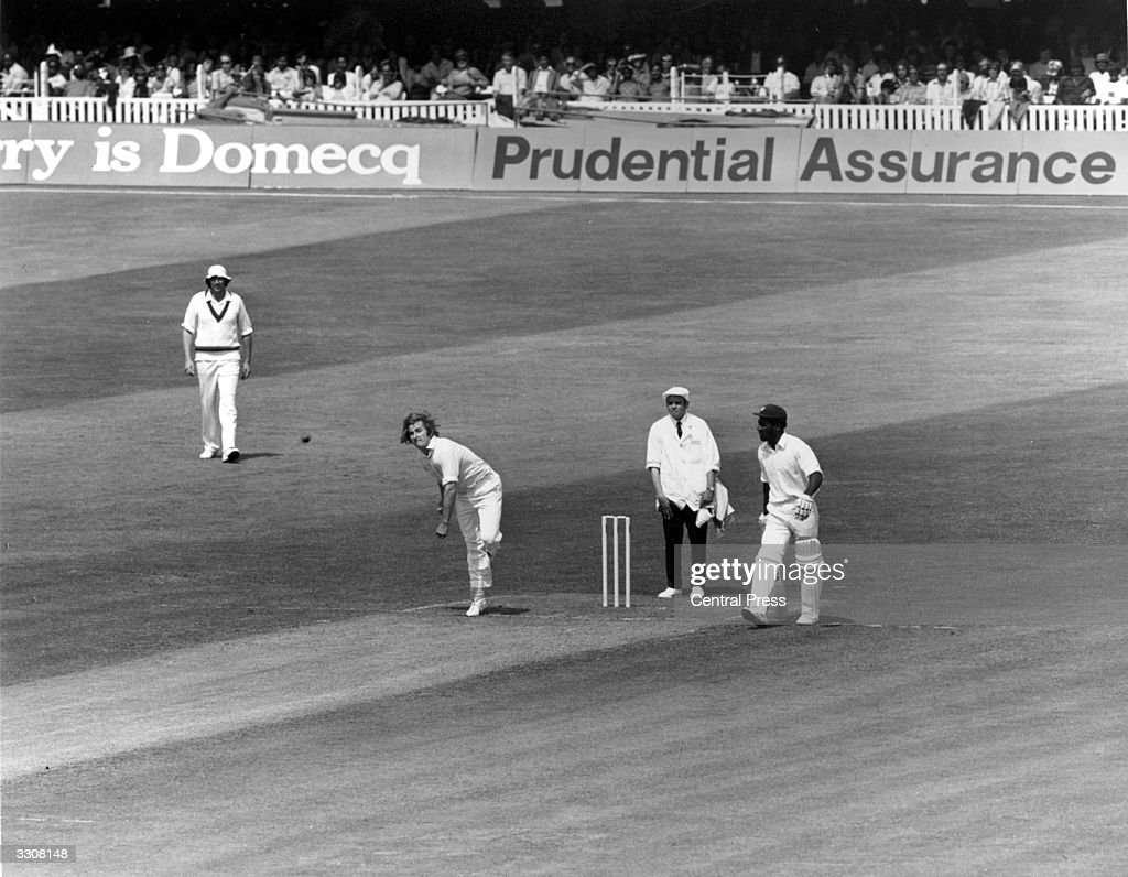 Umpire Dickie Bird behind the wicket at Lord's during the World Cup final between Australia and the West Indies.