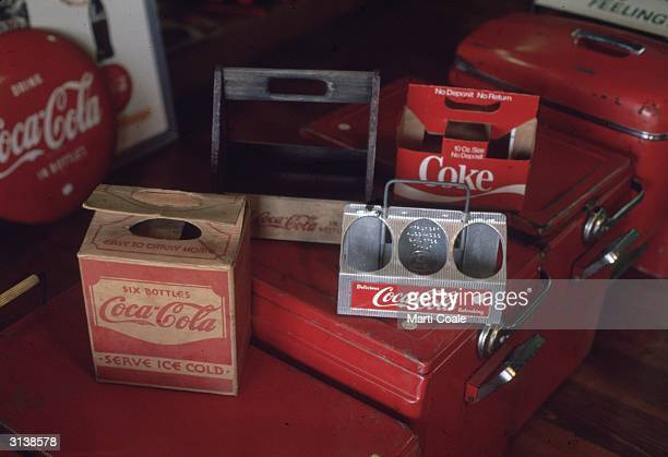 Coke sixpacks on display at 'The Real Thing' a shop selling CocaCola merchandise and memorabilia