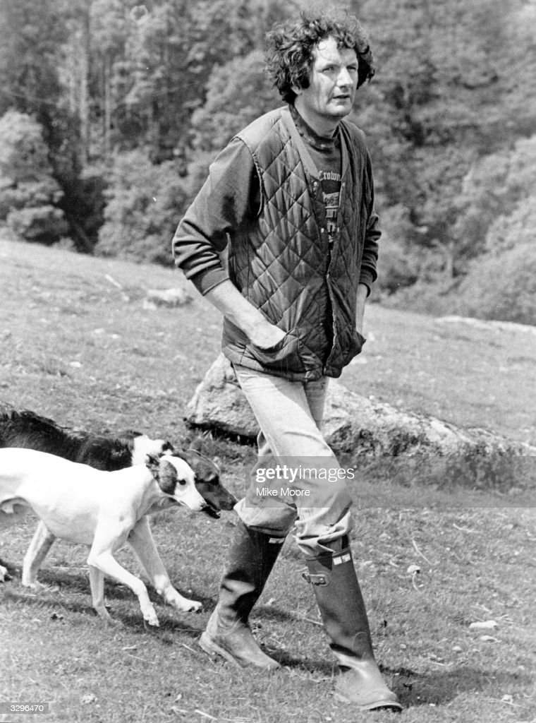 Norman Scott, walking his dogs near his home in Chagford, Devon. Norman Scott accused Jeremy Thorpe, the MP, and others of trying to kill him.