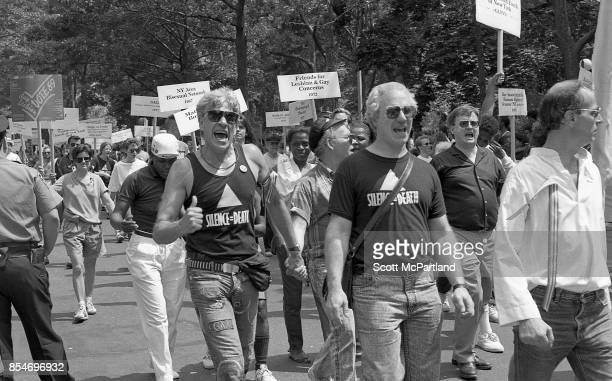A man enthusiastically gives a Thumbs Up to the camera at the 1989 Gay Pride Parade in Greenwich Village Manhattan commemorating the 20th anniversary...