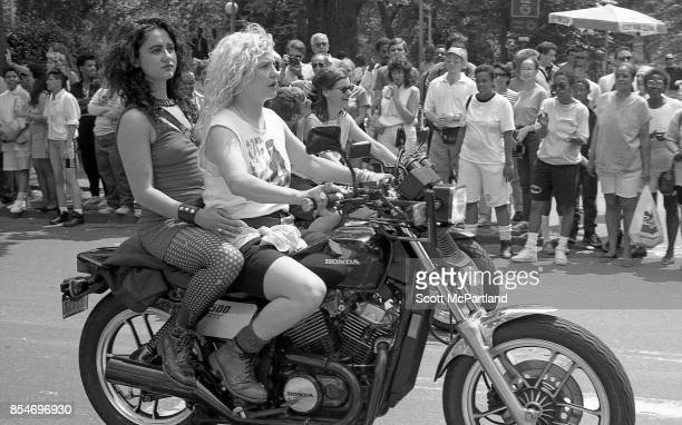 Activists from the LGBTQ community ride their motorcycles at the start of the Gay Pride Parade commemorating the 20th anniversary of the Stonewall...