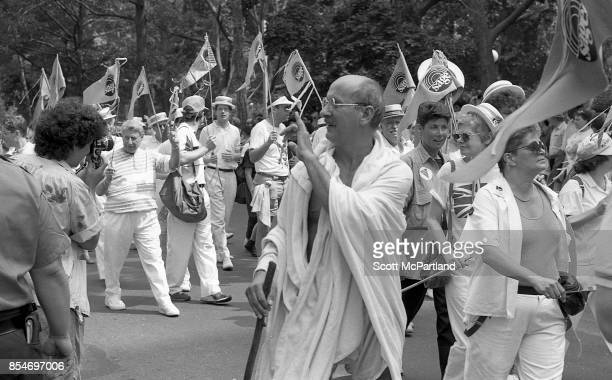 Gay rights activists march in Greenwich Village Manhattan at the 1989 Gay Pride Parade commemorating the 20th anniversary of the Stonewall Riots