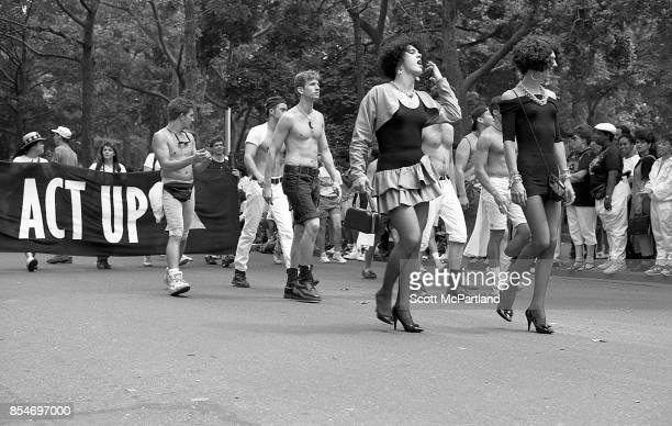 Gay rights activists march together in front of Washington Square Park during the 1989 Gay Pride Parade in New York City