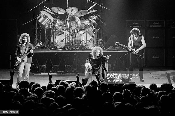 Black Sabbath perform live on stage at the Gaumont Theatre in Southampton on 25th June 1980 Left to right Geezer Butler Bill Ward Ronnie James Dio...
