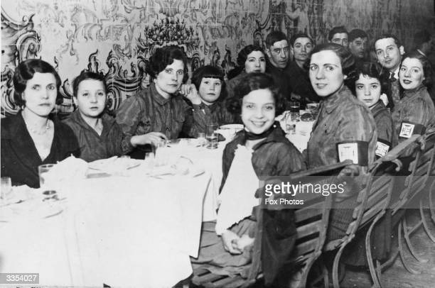 Members of Portugal's 'Fascisti' at dinner together, the group are known as the National Syndicalists.
