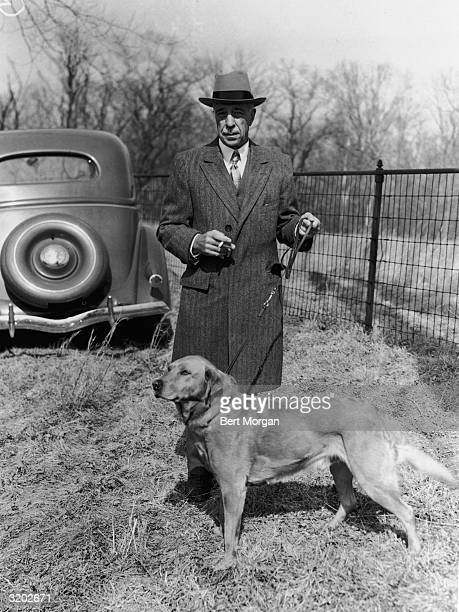 EXCLUSIVE Original caption reads 'Mr Frederick T Bedford of Lexington Avenue New York City with his dog Ming at the second Jay F Carlisle Memorial...