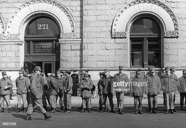 US National Guard units patrolling outside the main New York Post Office at Cadman Plaza They have been ordered there by President Nixon as a result...