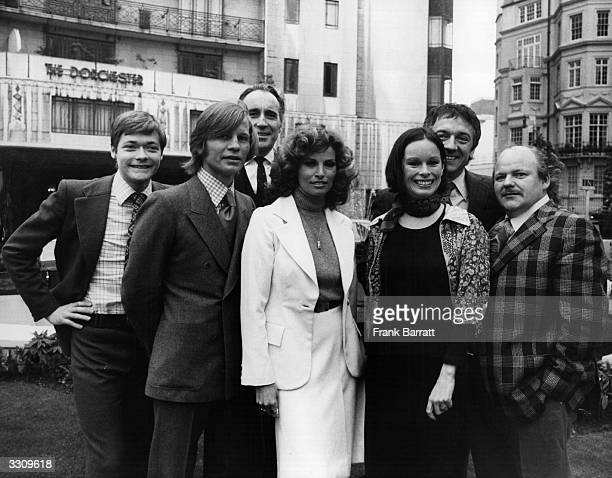 Stars of the film 'The Three Musketeers' outside the Dorchester Hotel in London where they gathered for a prerelease reception They are from left to...