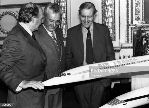 From left Lord Beswick Marcel Cavaille the French Secretary of State for Transport and Anthony Wedgwood Benn the British Secretary of State for...