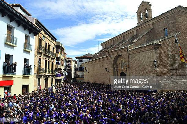 Festivity participants playing the drums during the Holy Week celebrations in Calanda Spain 25th of March 2016