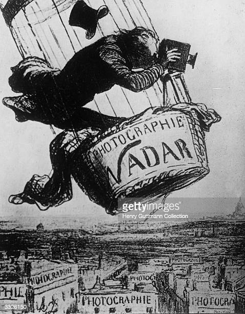 A cartoon showing French photographer journalist Nadar who started the art of aerial photographs for mapmaking 'Nadar elevates photography to the...