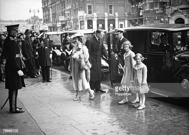 25th May 1938 London England King George VI and Queen Elizabeth and Princesses Margaret and Elizabeth arrive at London's Olympia to attend the Royal...