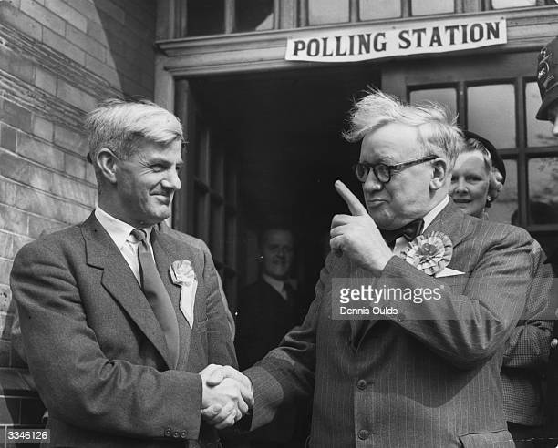British Labour politician Herbert Morrison 1st Baron Morrison of Lambeth warning W Hamling the Labour candidate for Woolwich West not to relax until...