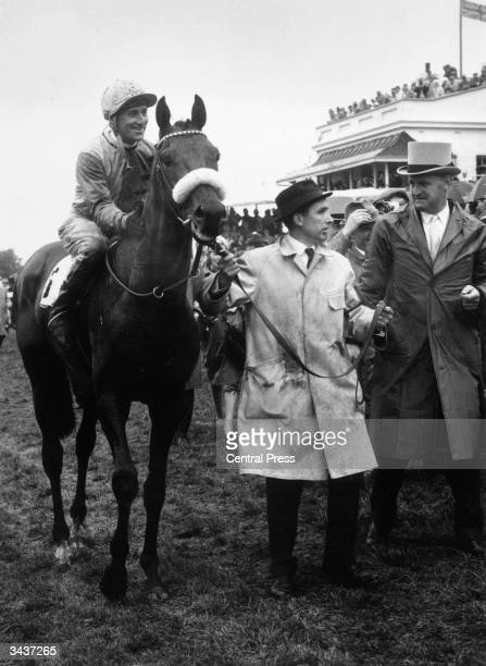 Australian born jockey Scobie Breasley giving a pat to his mount 'Charlottown' after it took him to victory in the Epsom Derby, the second time the...