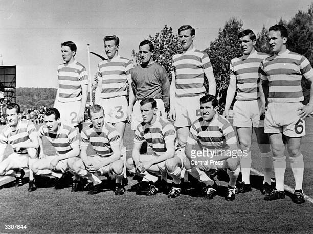The Celtic team line up before their European Cup Final match against Inter Milan in Lisbon. They went on to win 2-1.