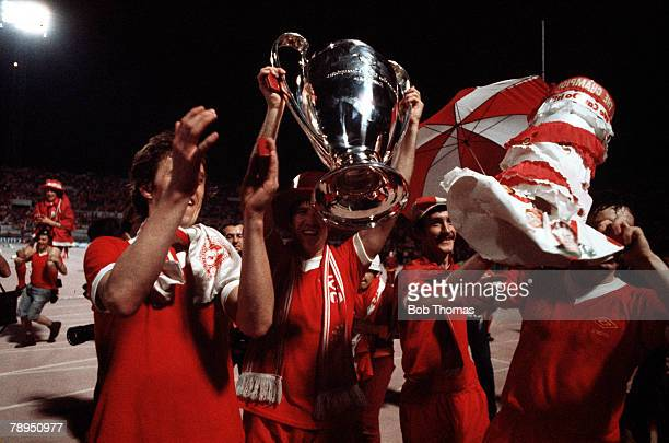 25th May 1977 Rome Italy European Cup Final Liverpool 3 v Borussia Moenchengladbach 1 Liverpool players Phil Neal Emlyn Hughes Terry McDermott and...