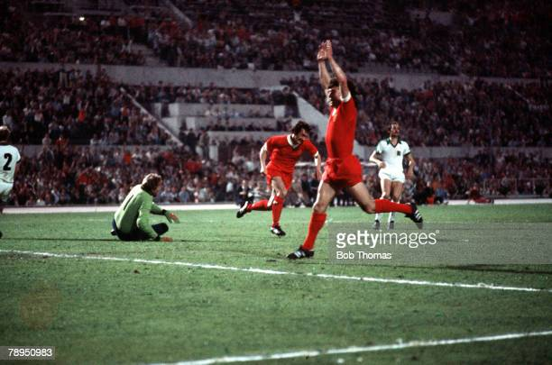 25th May 1977 Rome Italy European Cup Final Liverpool 3 v Borussia Moenchengladbach 1 Liverpool's Kevin Keegan celebrates the opening goal of the...