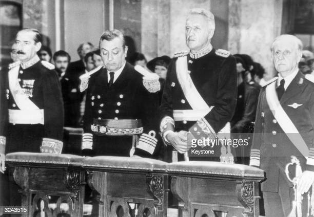 Leaders of Argentina President General Jorge Rafael Videl Admiral Armando Lambruschini General Leopoldo Galtieri and Brig Gen O Domingo Graffigna...